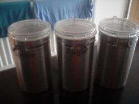 Tea,coffee & sugar stainless steel tins with glass killner tops