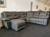 Recliner Grey Basel Faux Leather Chaise Corner Sofa suite couch BRAND NEW