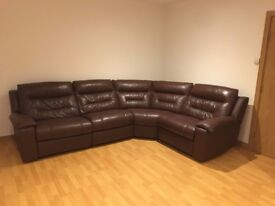 DFS Bachelor leather corner sofa with electric recliners