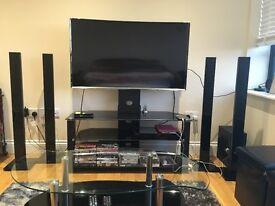 "Samsung LED CURVE SMART WIFI 48"" TV  HOME CINEMA BLACK MOUNT GLASS TABLE"
