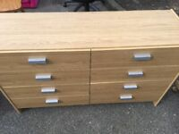 8 DRAWER CHEST OF DRAWERS VERY GOOD CONDITION , MEASURE 49 INCHES WIDE X 16 INCHES DEEP X 29 INCHES
