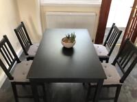 IKEA Black Dining Table and 4 IKEA Black Chairs