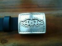 Silpada ladies belt, genuine leather, ornate silver buckle, size M, black