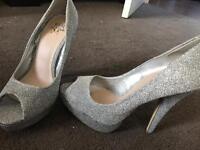 Miss KG Silver sparkly stilettos size 5