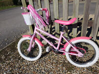 Girls pink 16 inch bike with stabilisers