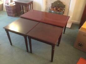 Mahogany coffee table and two side tables