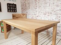 Oak All Over Dining Kitchen Table Chunky Natural Finish AB Grade Smooth Any Size