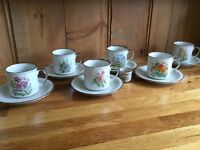Pretty floral cups and caucers Tea party afternoon tea