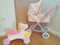 Baby Anabell Pram and musical sit and ride horse (has an off switch!!)