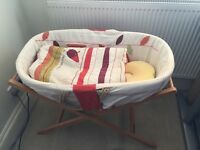 Mamas & Papas Hodge Podge Moses Basket & Deluxe Folding Stand