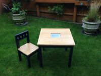 Wooden Children table and chair
