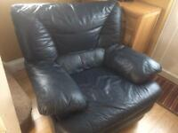 Navy blue leather armchair