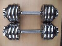 Pair 10kg Chrome York Dumbbells = 20kg
