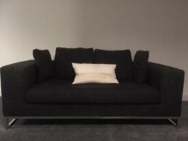 Dwell 2 two-seater fabric sofas dark grey with chrome legs