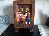 Vintage Hand Carved Dark Wood Storage Cabinet