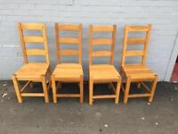 4 solid oak chairs (delivery available)