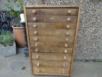 ENGINEERS CABINET - WATCH MAKERS CABINET - FILING CABINET - 10 DRAWERS -