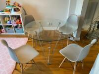 Eames style glass scandi dining table
