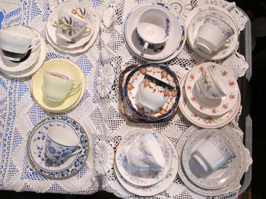 Vintage Wedding Tea Party Mismatched China 10 Cups Saucers Plates 30