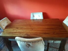 Solid wood dining table plus 4 velvet chairs; sideboard; console table and square side table