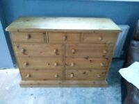 Solid pine 9 drawer chest