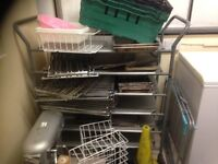 Stainless steel trolley 6 removable shelves castors