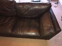 M&S brown leather sofas