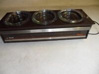 Phillips table top warming cupboard with 3 good sized dishes and a plate or pie warming cupbaord.