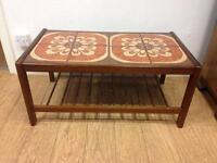 Vintage teak tile top occasional table