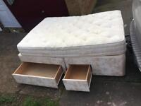 Double divan bed with 4 draws and mattress