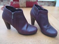 Ladies size 5 Burgundy Leather `shoe boots` from M&S