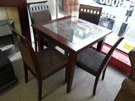 Rattan Dark Wood Dining Table 4 Chairs