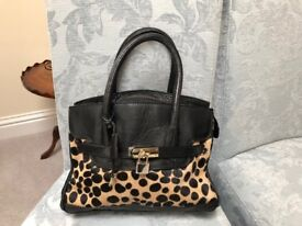 Black Leather and FAUX Leopard skin Hand bag