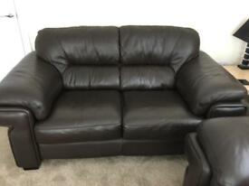 Dark brown leather sofas chair footstool
