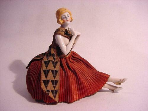 Lovely German Porcelain  Half Doll Pincushion Arms Away with Cross Legs.