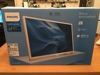 """Brand New Phillips Ultra Slim 24"""" LED HD TV/Monitor in White with Warranty"""