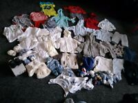Baby boys clothes & footwear bundle birth - 3-6mths collect ml5