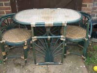 DINNER FOR TWO - WICKER AND WOOD DINING TABLE WITH TWO MATCHING CHAIRS - CLACTON