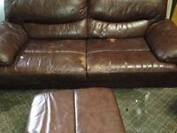FREE Leather Sofa with stains (see photos)