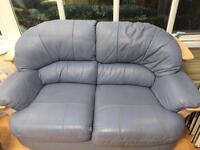 Leather Sofa, chair and foot stool