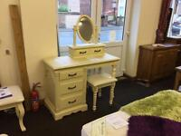 Shabby Chic Victorian French style dressing table,stool and Trinket mirror.