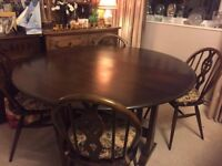 Ercol Round gate leg Dining Table & 4 chairs
