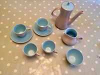 Vintage 1960s Poole Pottery Twintone Coffee Set Sky Blue Dove Grey C104