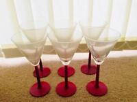 Set of 6 vintage martini wine drink glasses red stem champagne alcohol cocktail