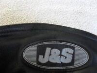 "J & S GENUINE LEATHER BIKER TROUSERS UNISEX LADIES 8-10 MEN'S 26-28"" WAIST - GOOD CONDITION"