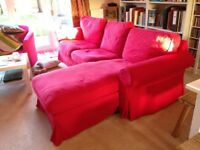 Red 3 seater sofa with chaise long