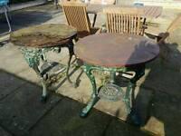 2 Cast iron pub tables