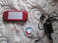 RED PSP 3000 CONSOLE BUNDLE,LITTLE BIG PLANET GAME,CHARGER