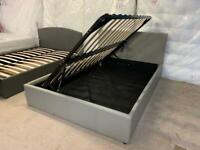 New exdisplay double grey leather Ottoman bed frame