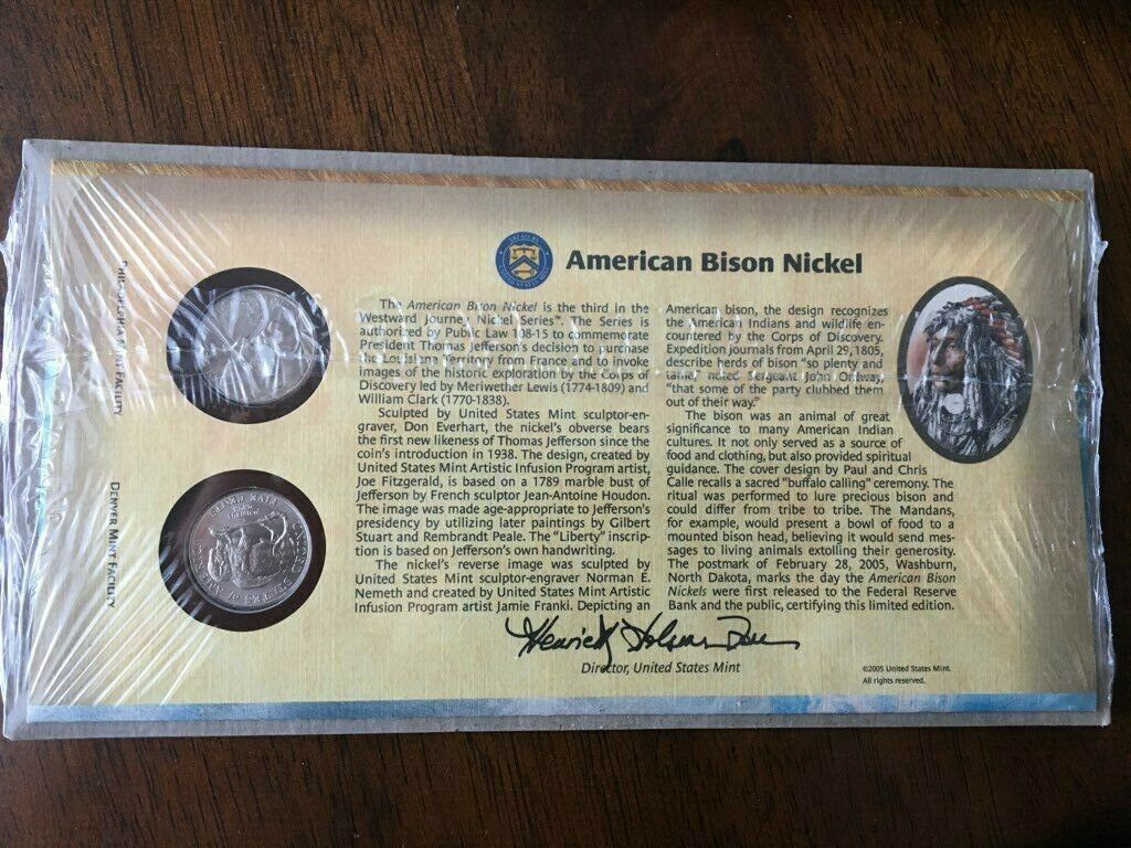 BNIP UNITED STATES MINT FIRST DAY COVER 2005 AMERICAN BISON NICKEL COIN SET - $15.00
